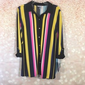 Peter Nygard Button Down Striped Tunic Blouse